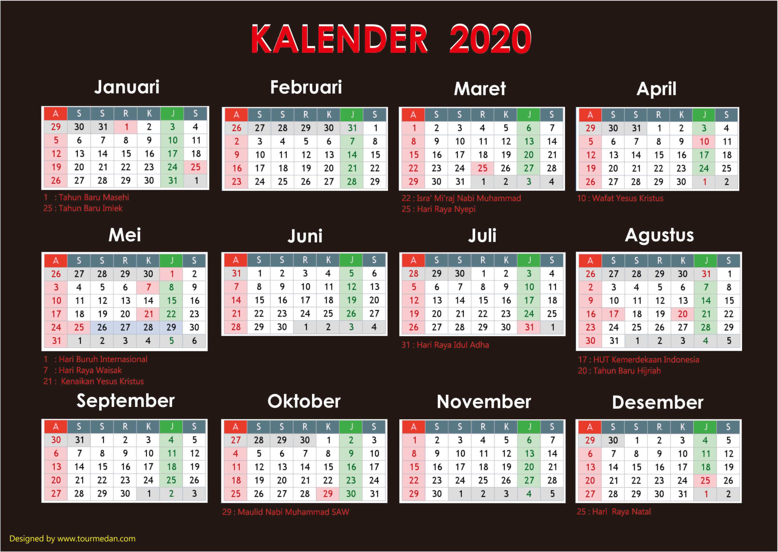 kalender 2020 hari merah