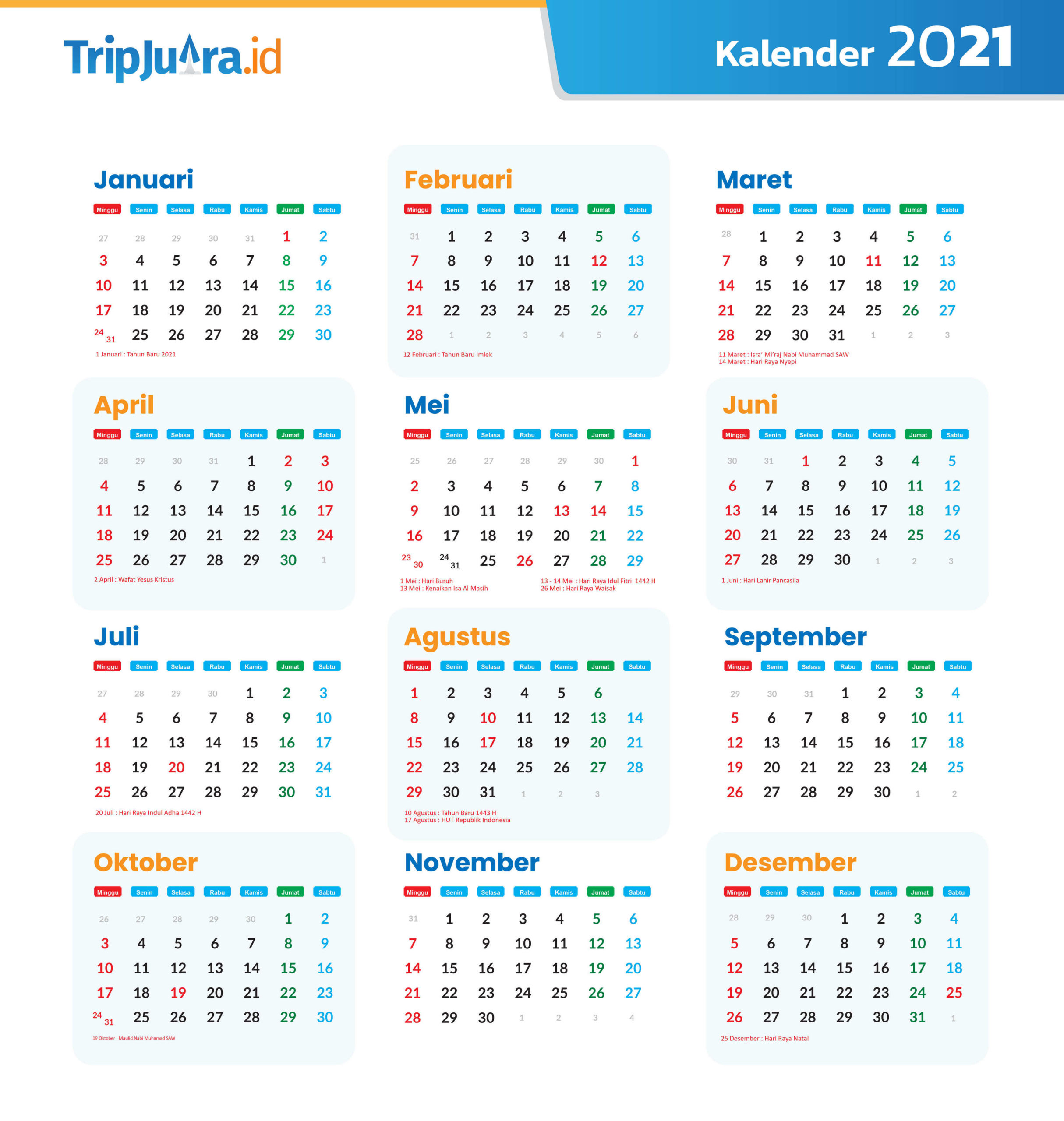Kalender 2021 Indonesia Lengkap Dengan Libur Nasional